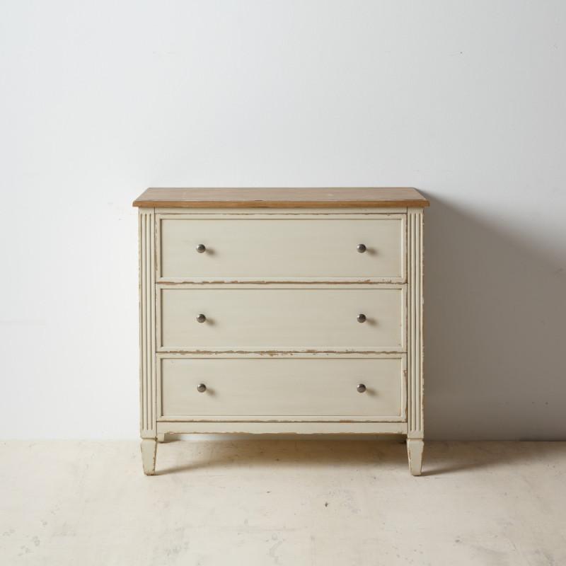 Commode 3 tiroirs Bois Naturel/Crème classique - Univers Chambre : Tousmesmeubles