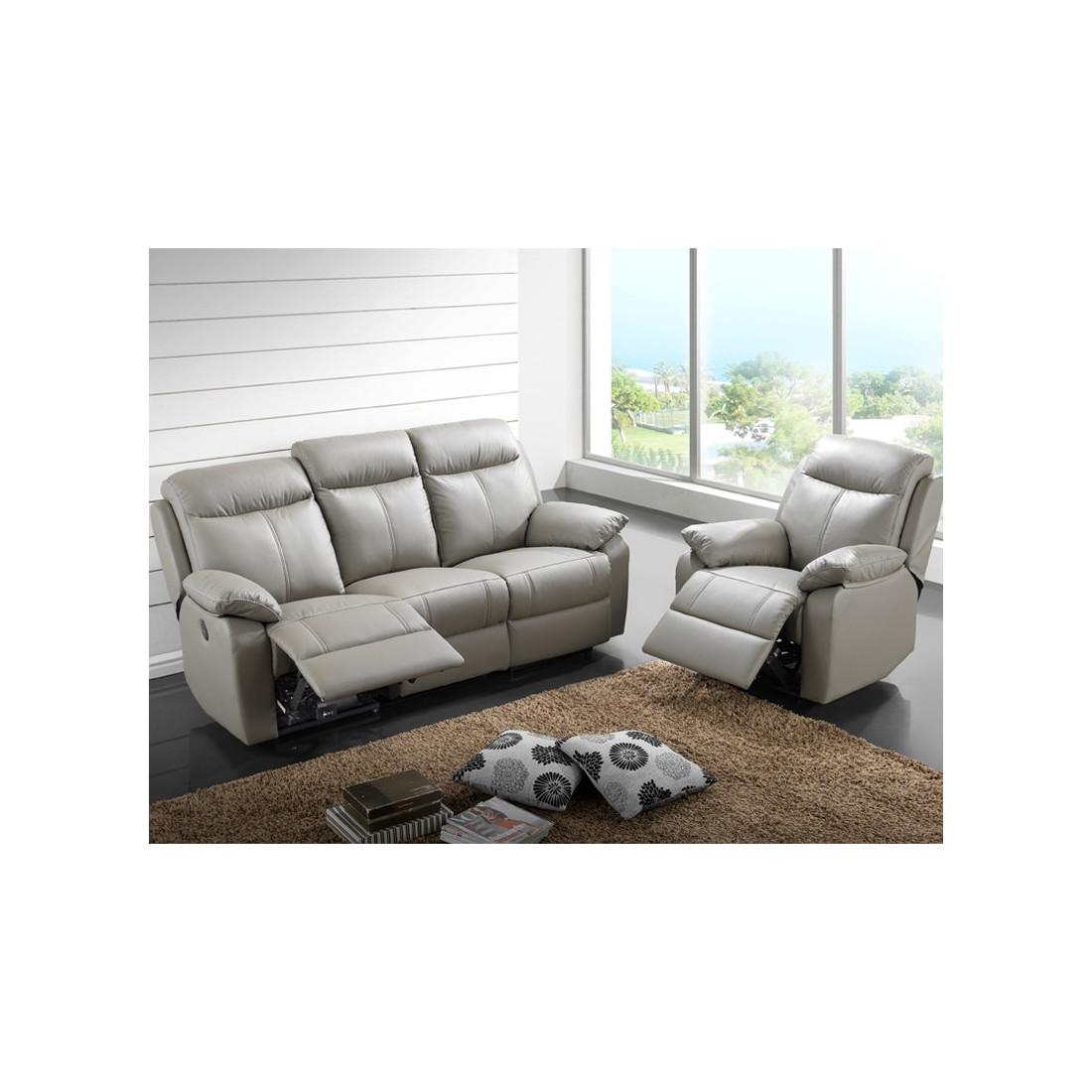 Canap relax lectrique 3 places fauteuil relax for Les fauteuils en cuir