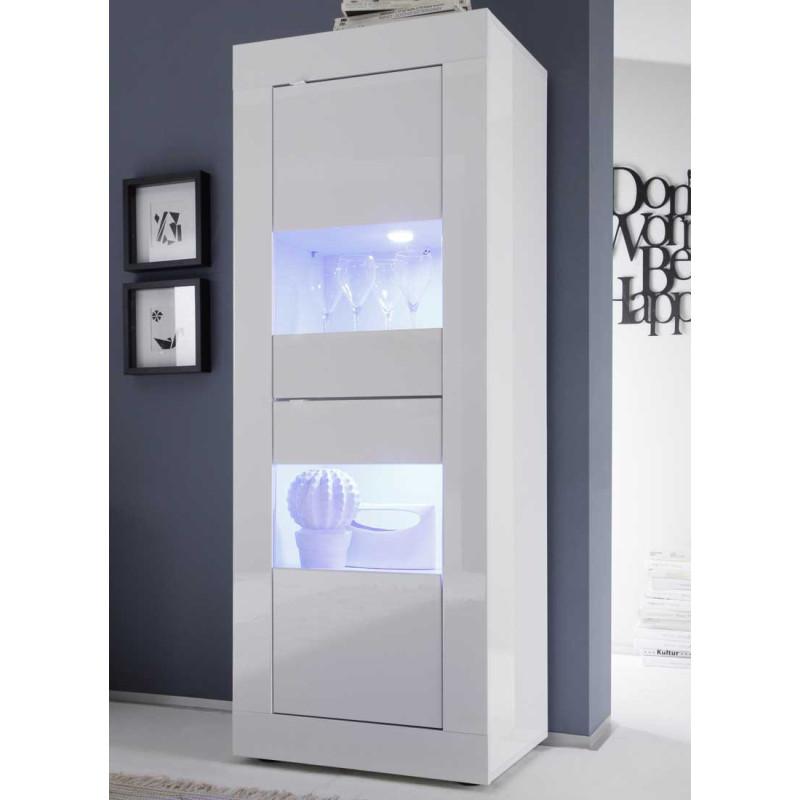Vitrine 2 portes Blanc laqué brillant à LEDS - MATERA