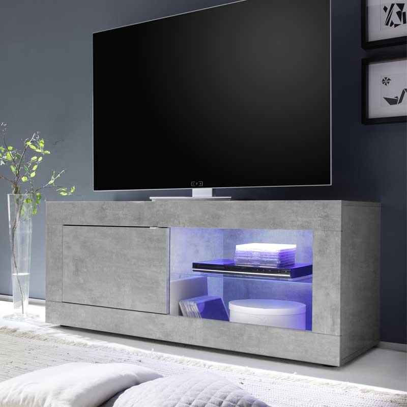 Meuble TV 1 porte 2 niches Béton ciré clair à LEDs - MATERA