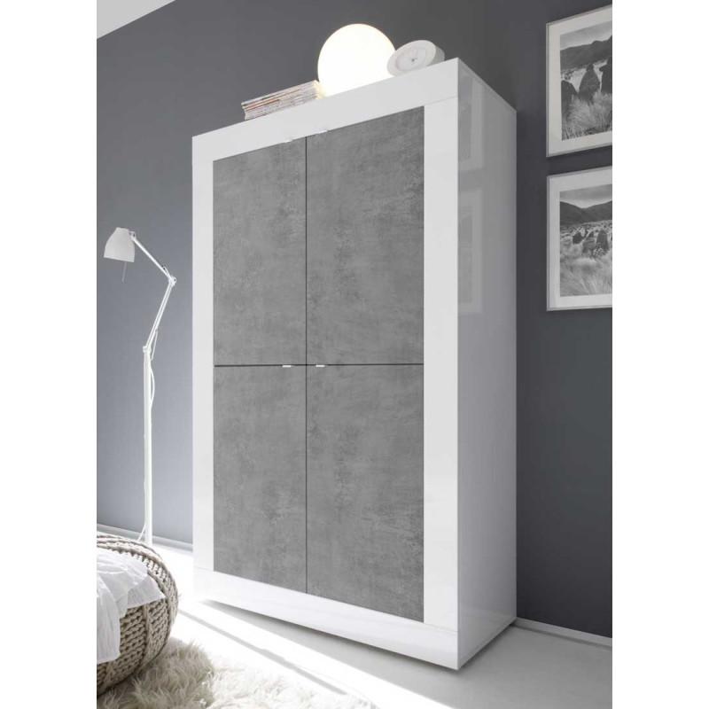 Vaisselier 4 portes Blanc/Béton ciré clair - MATERA