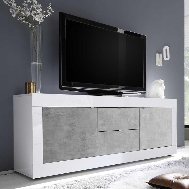 Meuble TV 2 portes 2 tiroirs Blanc/Béton ciré clair - MATERA