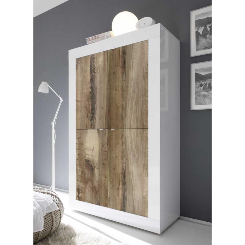 Vaisselier 4 portes Blanc/Planches bois - MATERA