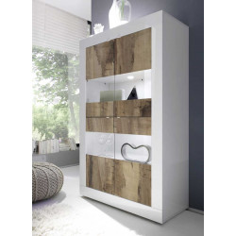 Vitrine 4 portes Blanc/Planches bois à LEDS - MATERA