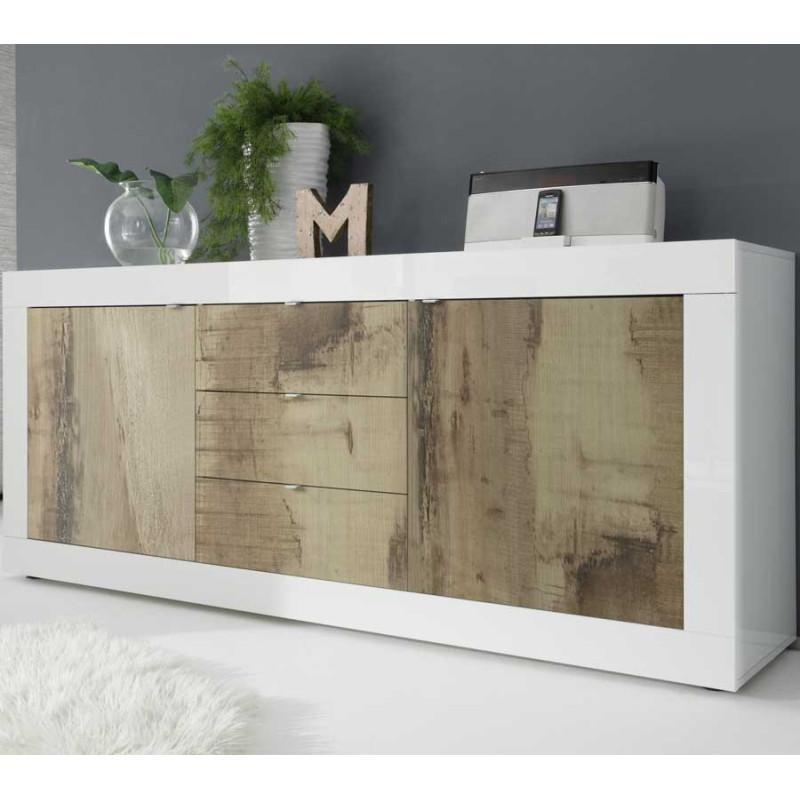 Buffet 2 portes 3 tiroirs Blanc/Planches bois - MATERA