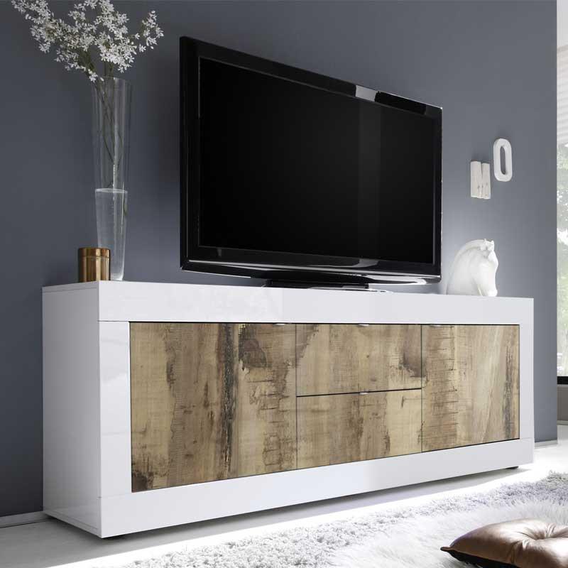 Meuble TV 2 portes 2 tiroirs Blanc/Planches bois - MATERA