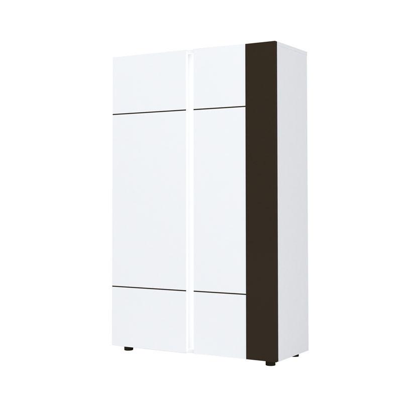 Vaisselier 2 portes Gris/Blanc brillant - WATOM