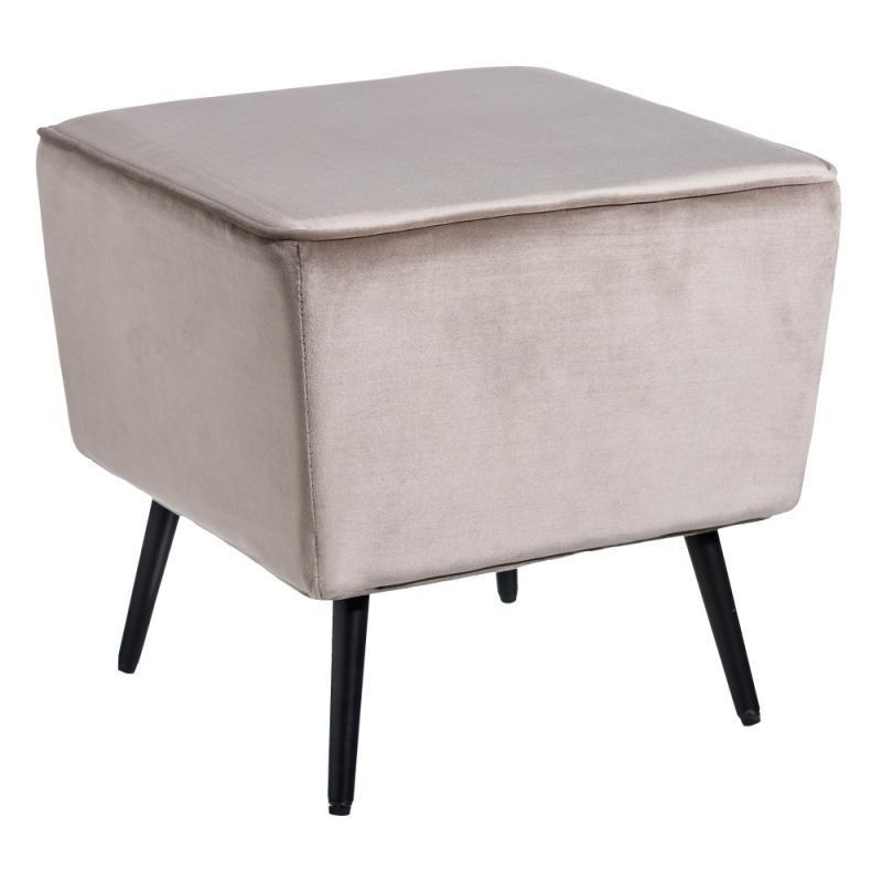 Pouf carré gris Velours/Métal - MAKHA