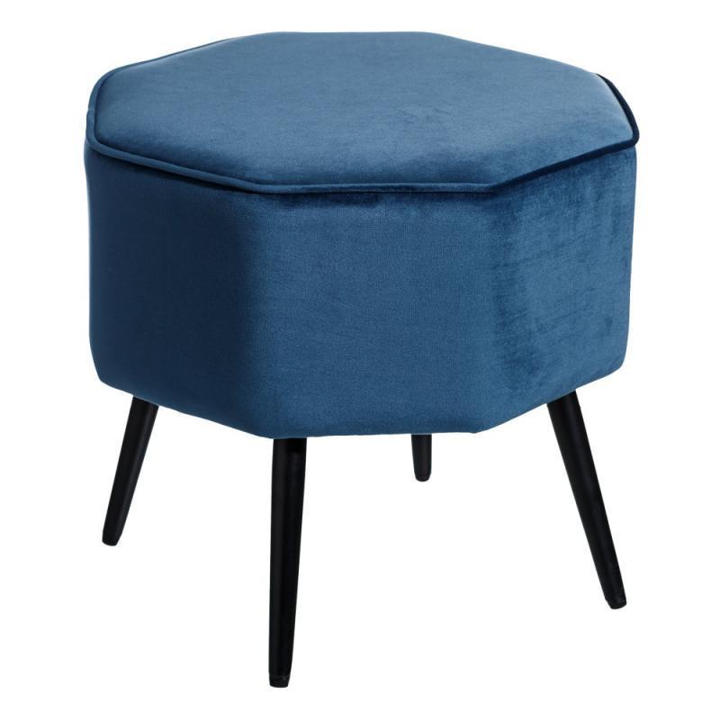 Pouf octogonal bleu Velours/Métal - MAKHA
