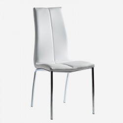 Chaise Simili cuir Blanc/Chrome - MOLAT