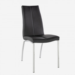 Chaise Simili cuir Noir/Chrome - MOLAT