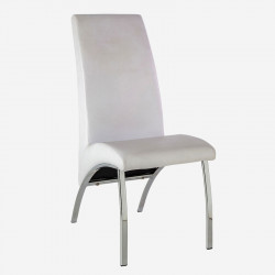 Chaise Simili cuir Blanc/Chrome - JULIACA