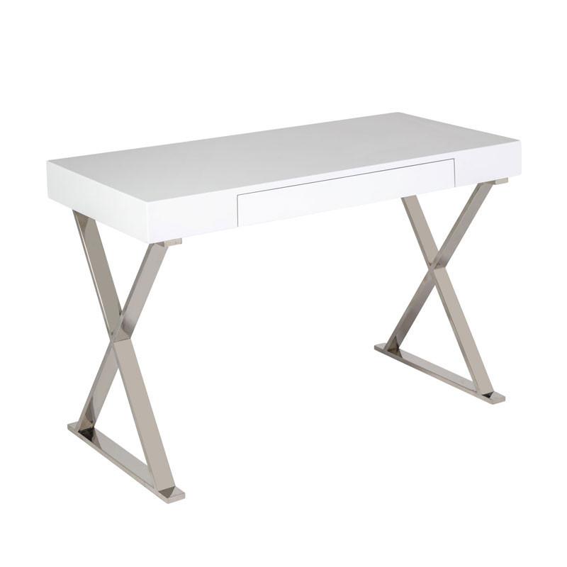 Bureau 1 tiroir Blanc laqué/Chrome - PASCO