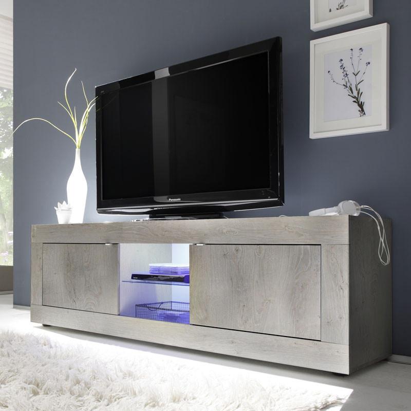 Meuble TV 2 portes 2 niches Pin blanc - MATERA
