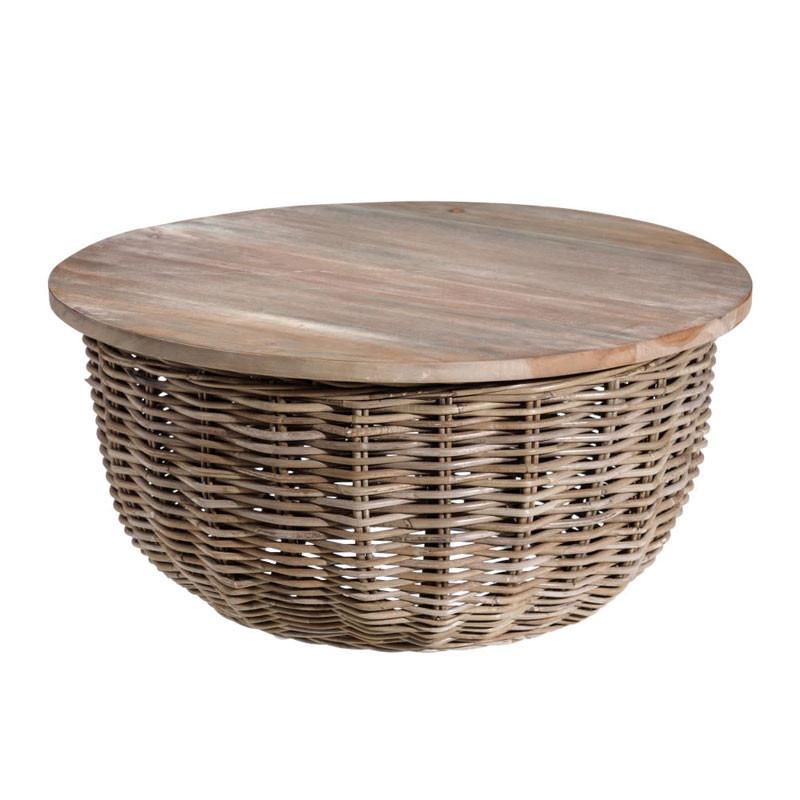 Table d'appoint ronde Bois/Rotin - TANAR