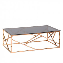 Table basse rectangulaire Gris/Or Rose - ROZOWY