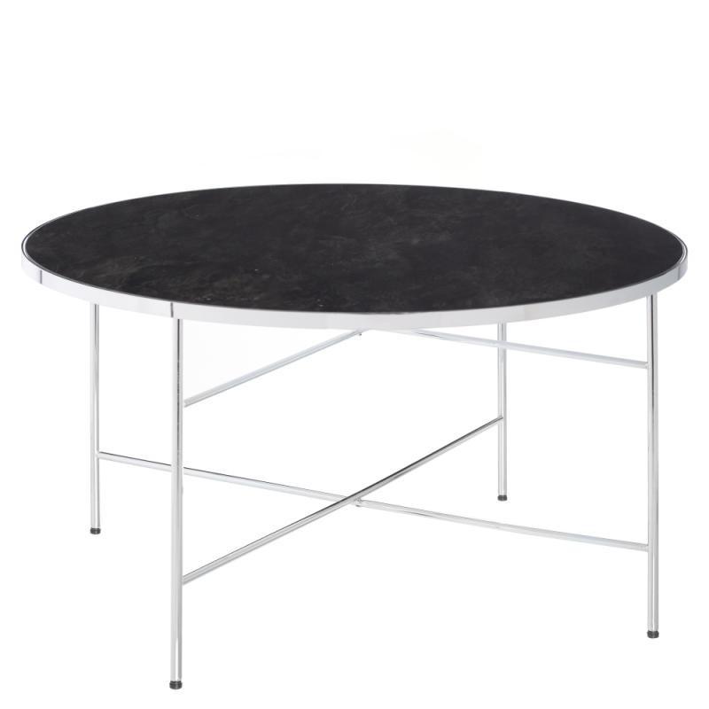 Table basse ronde noir Métal/Verre Taille L - MARMA