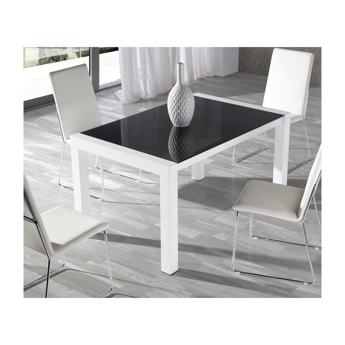 table repas allonges verre noir allen univers salle manger. Black Bedroom Furniture Sets. Home Design Ideas