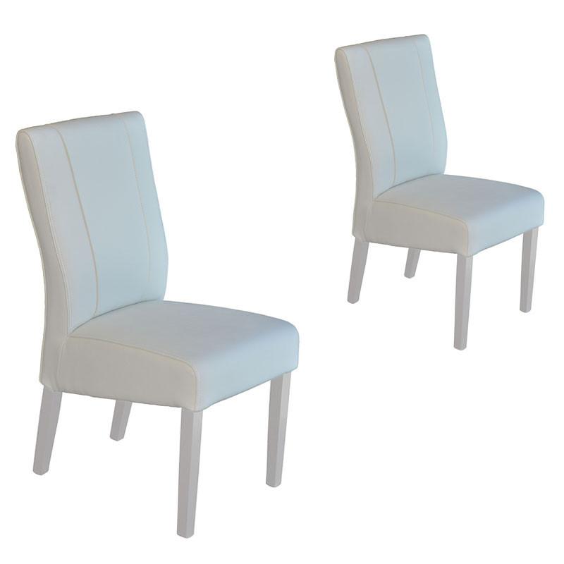 Duo de Chaises Simili cuir blanc - ATRANI