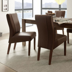 Duo de Chaises Simili cuir chocolat - ATRANI
