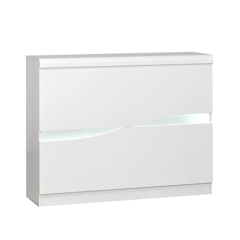 Bar aménagé Blanc laqué brillant à LEDs - PESMES