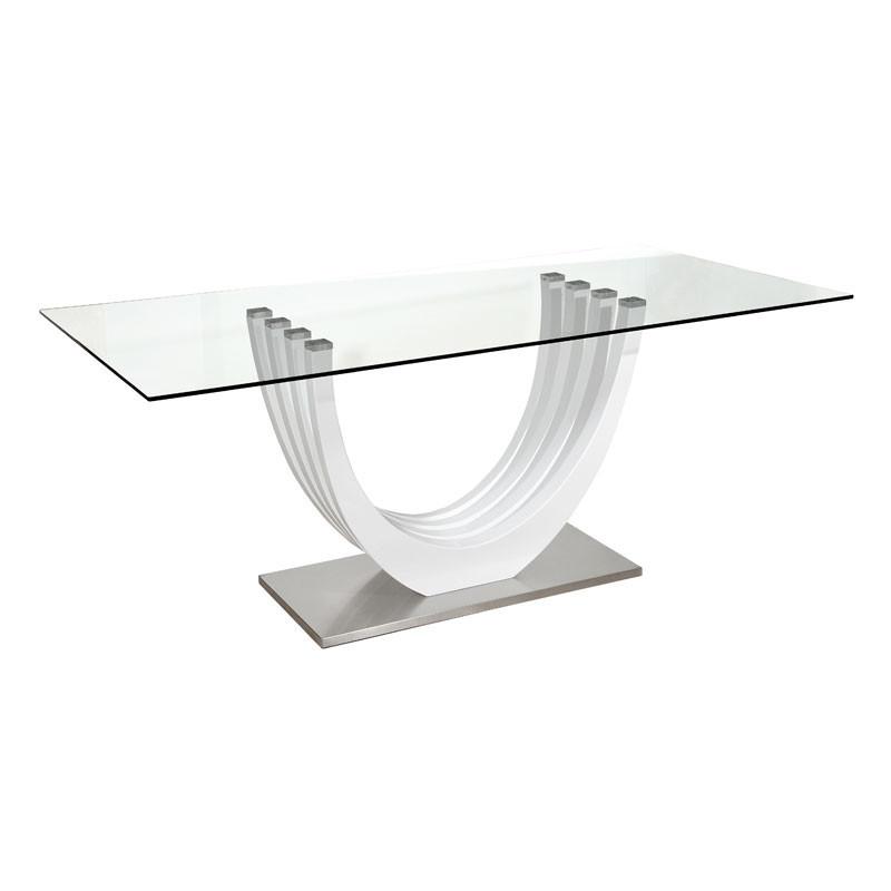 Table de repas rectangulaire Verre/Blanc laqué brillant - PESMES