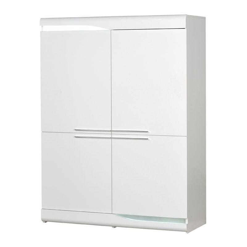 Vaisselier 4 portes Blanc laqué brillant à LEDs - PESMES