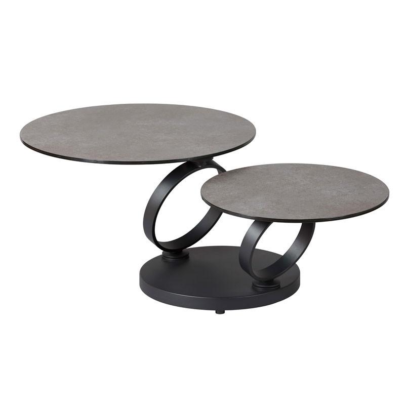 Table basse articulée Métal/Verre céramique gris foncé - VERRO