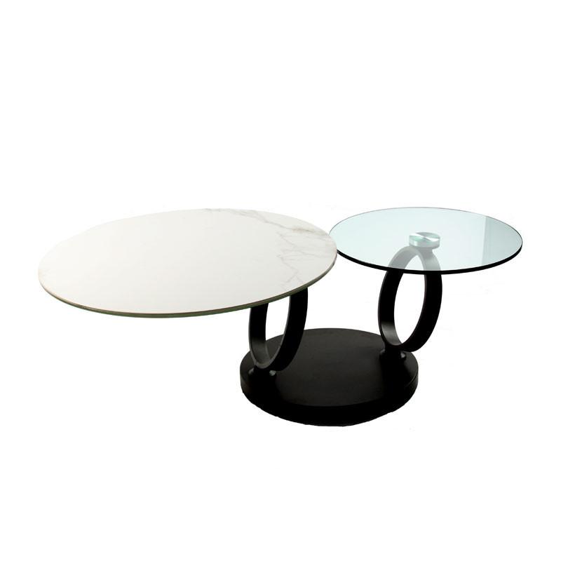 Table basse articulée Métal/Verre/Céramique - VERRO