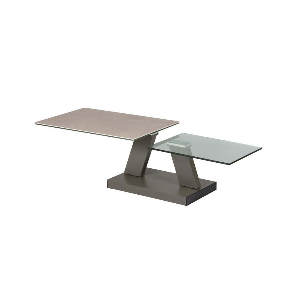 Table basse articulée rectangulaire Acier/Verre/Céramique - VERRO