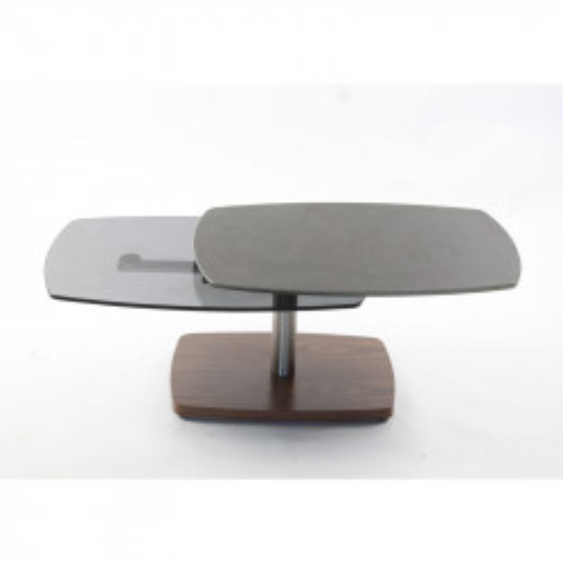 Table basse articulée Noyer/Acier/Verre/Ardoise - VERRO