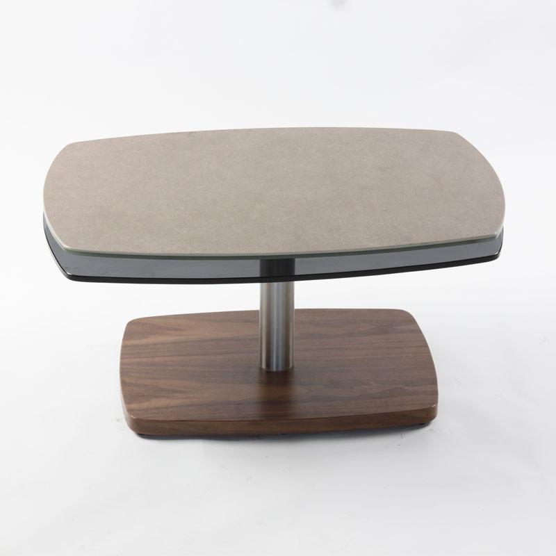 Table basse articulée Noyer/Acier/Verre/Gris - VERRO