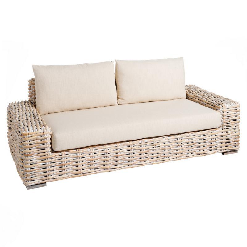 Canapé 2 places rotin Blanc avec coussins - SPANSKOR