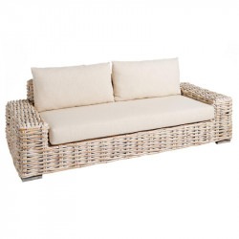 Canapé 3 places rotin Blanc avec coussins - SPANSKOR