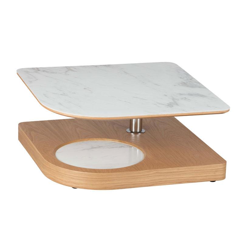 Table basse carrée articulée Bois/Marbre blanc - LAMPANG