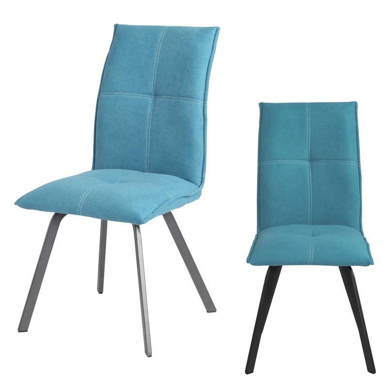 Duo de Chaises Métal/Tissu bleu - FRESNO