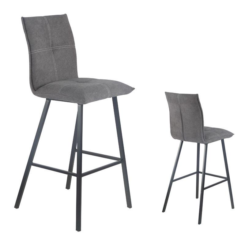 Duo de Chaises de bar Métal/Tissu gris - FRESNO