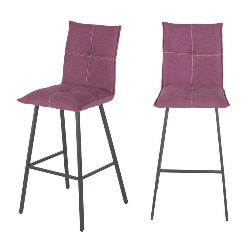 Duo de Chaises de bar Métal/Tissu rose - FRESNO