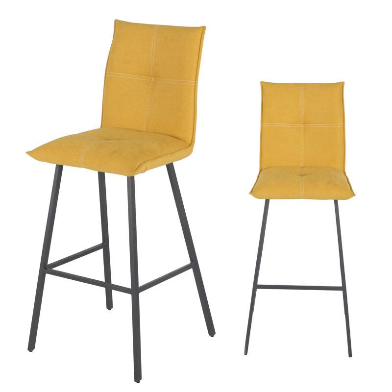Duo de Chaises de bar Métal/Tissu jaune - FRESNO