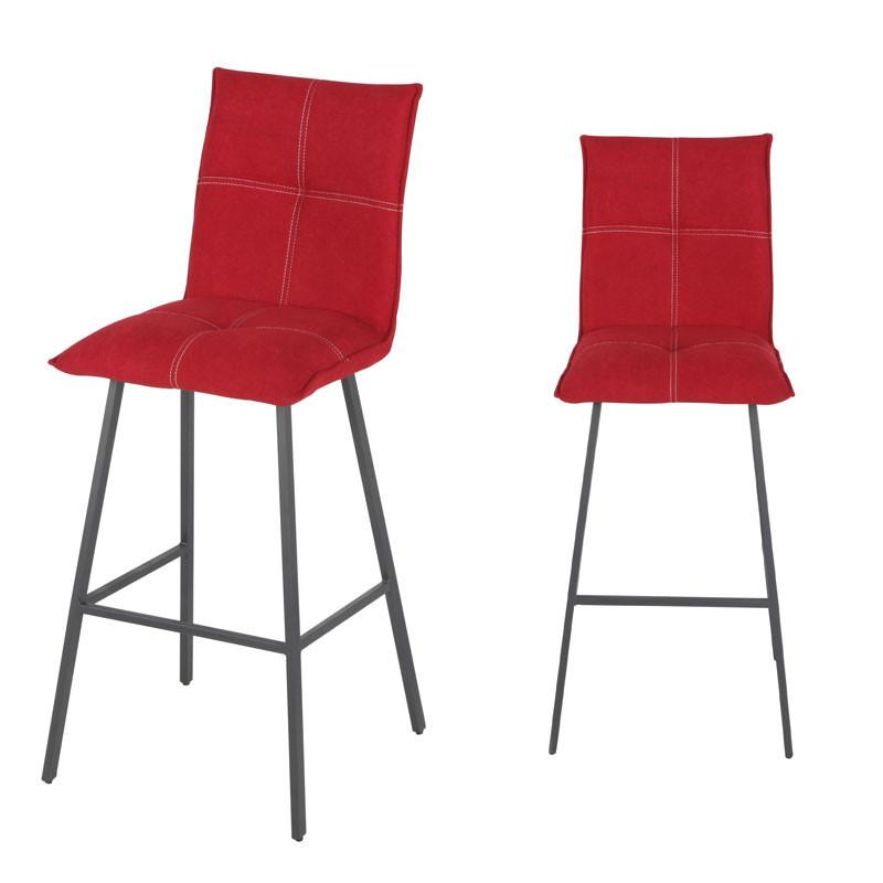 Duo de Chaises de bar Métal/Tissu rouge - FRESNO