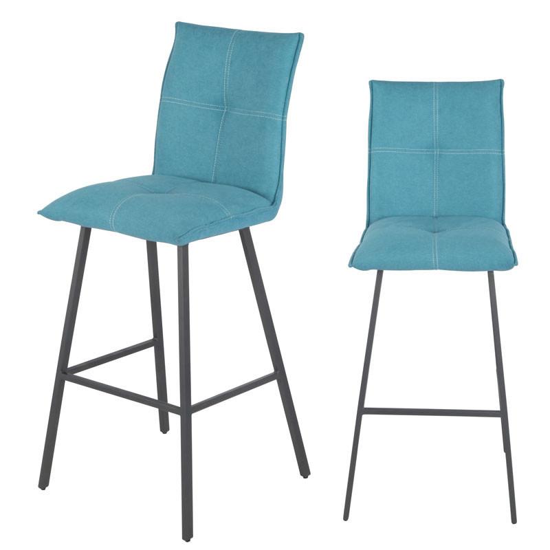 Duo de Chaises de bar Métal/Tissu bleu - FRESNO