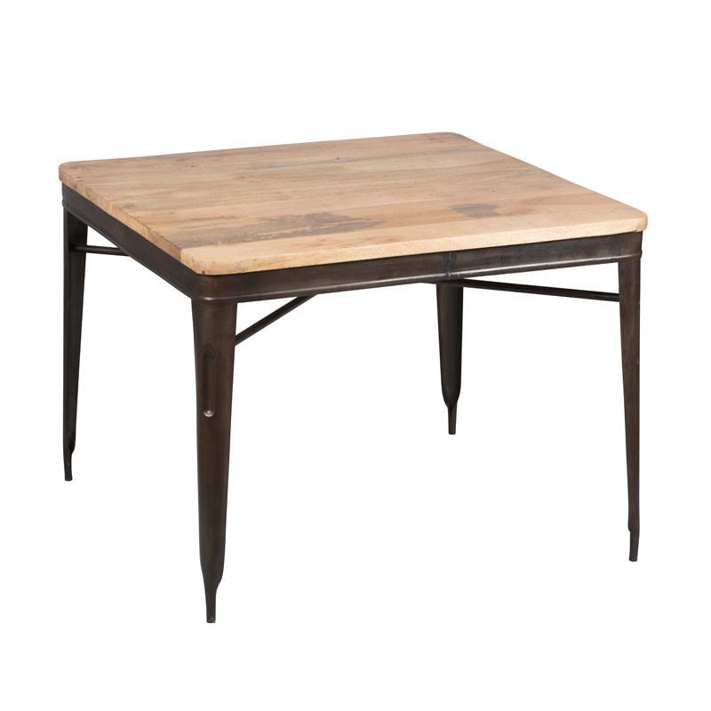Table de repas carrée Acier/Bois recyclé - CHALERSTON