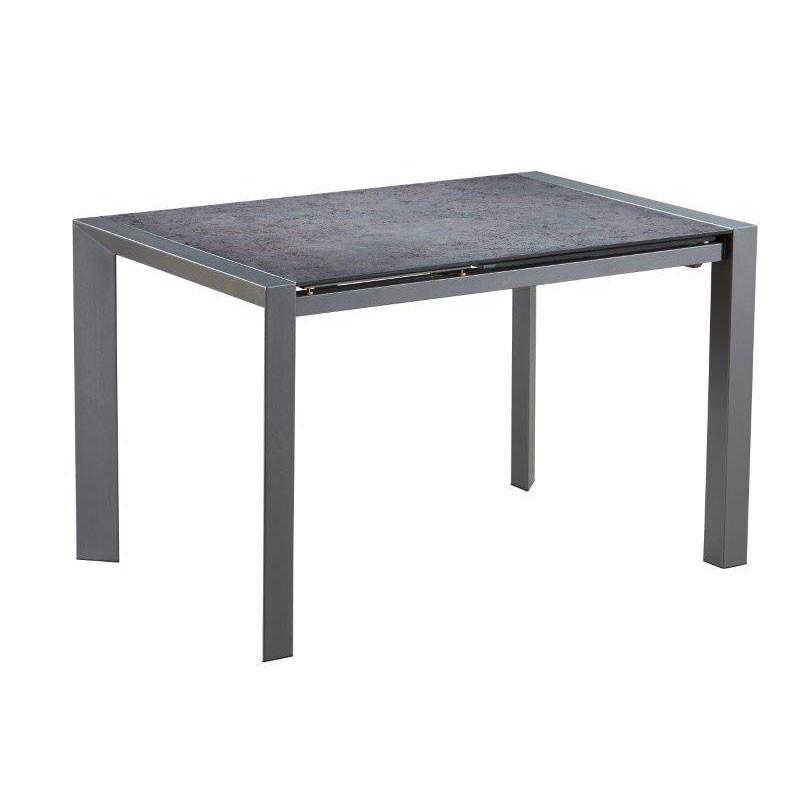 Table de repas à allonge Verre/Métal gris - RAYONG