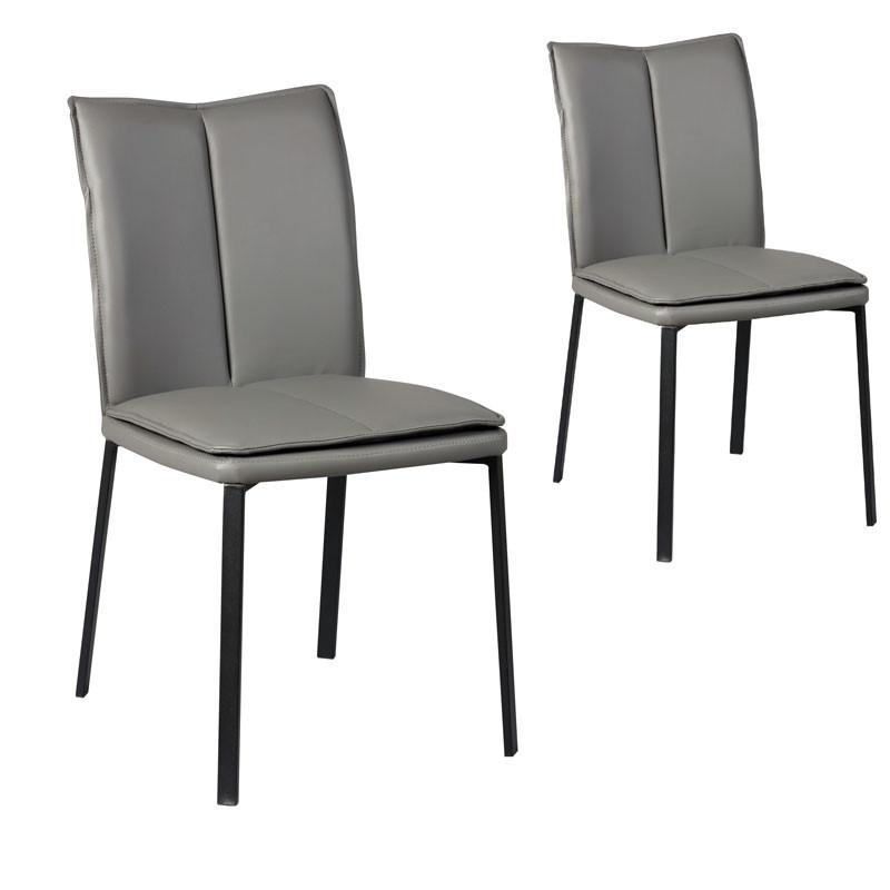 Duo de Chaises Simili cuir gris - TUCSON