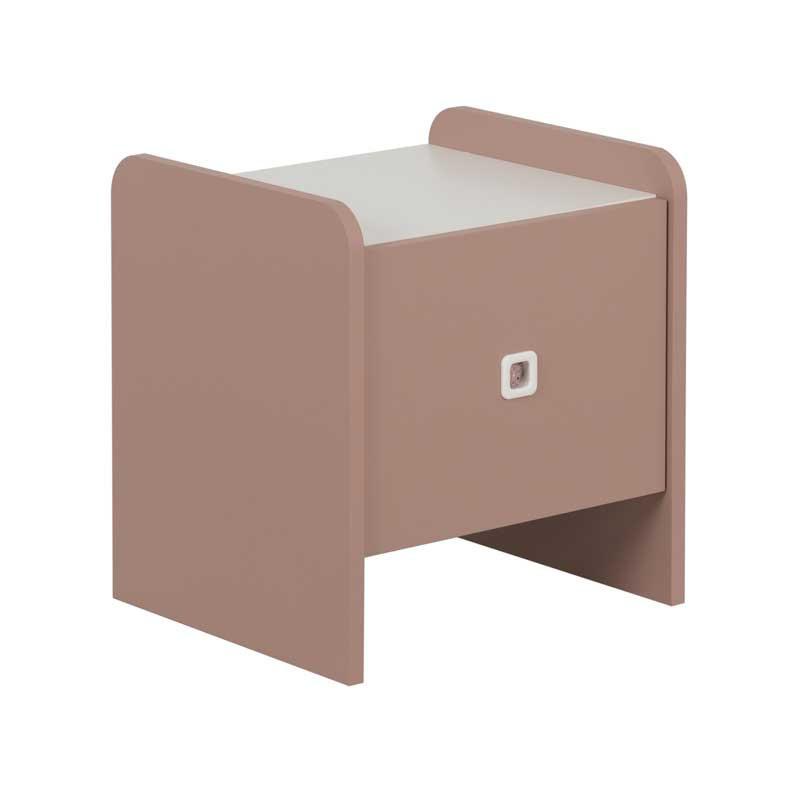 Table de chevet 1 tiroir Rose/Blanc - JADE