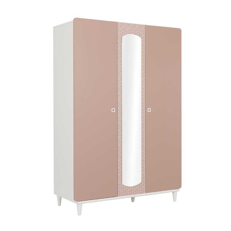 Armoire 3 portes Rose/Blanc avec miroir - JADE