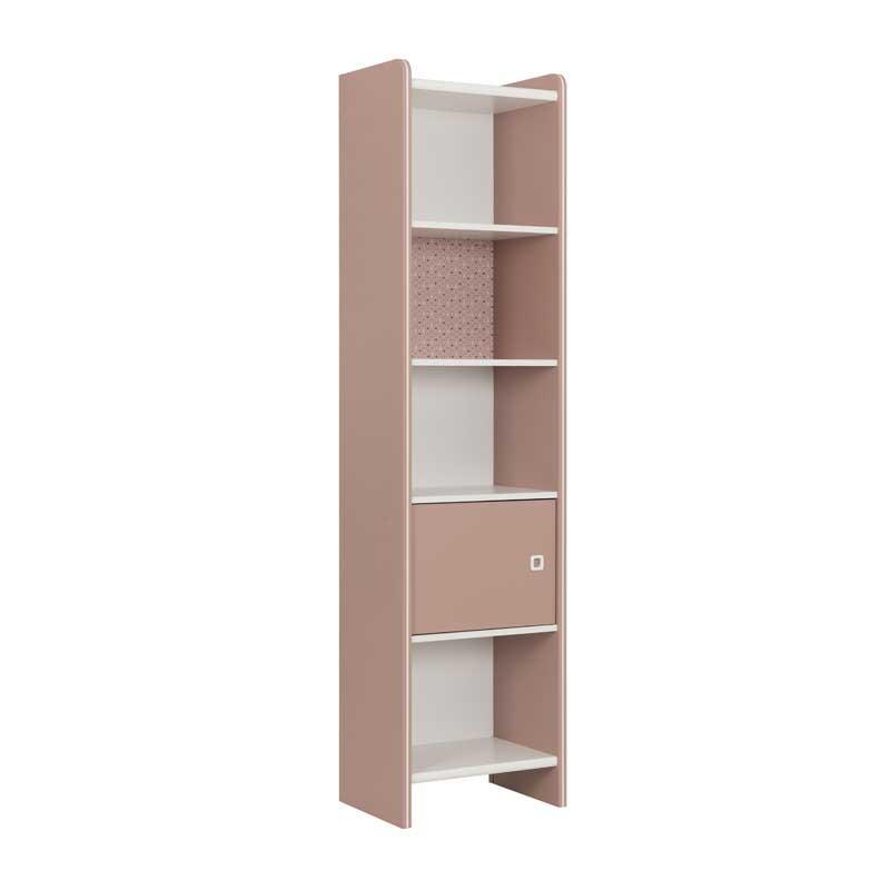 Bibliothèque 1 porte 4 niches Rose/Blanc - JADE