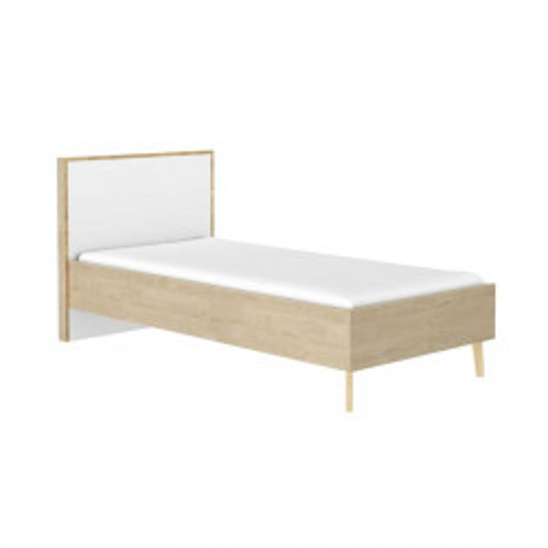 Cadre + Tête de lit 90*190 cm Chêne blond/Blanc - ESMEY