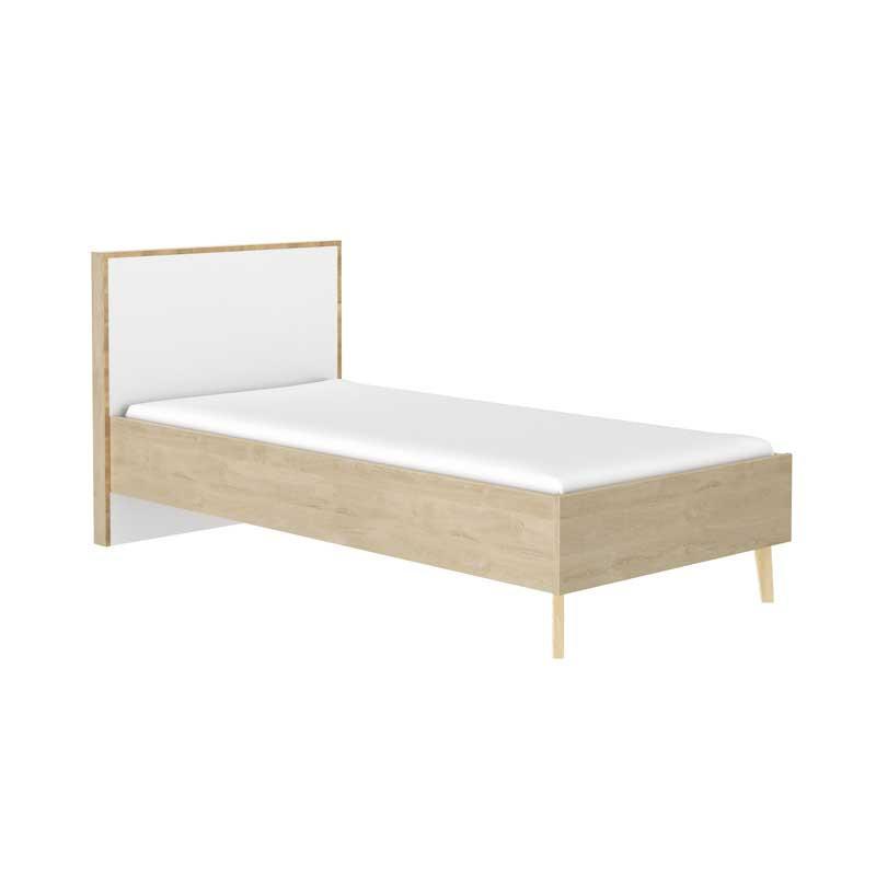Cadre + Tête de lit 120*200 cm Chêne blond/Blanc - ESMEY