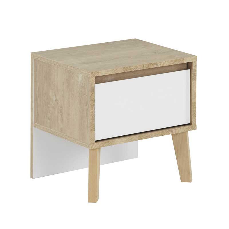Table de chevet 1 tiroir Chêne blond/Blanc - ESMEY